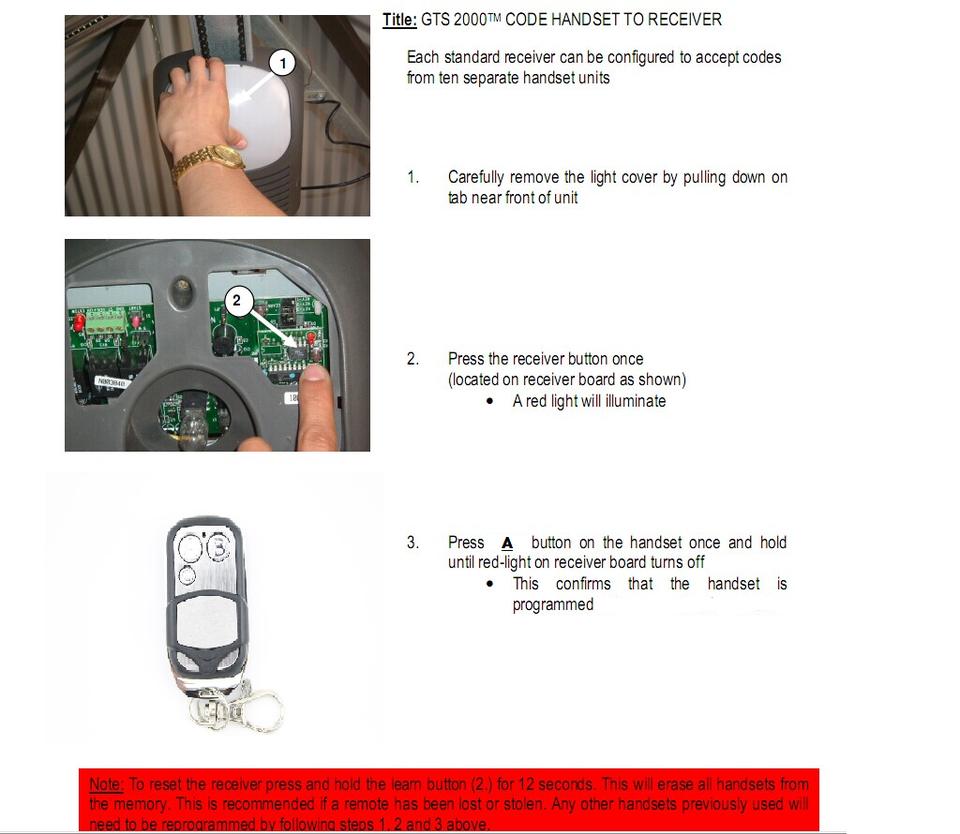 Gliderol Tm 305c Garage Door Opener Remote Control