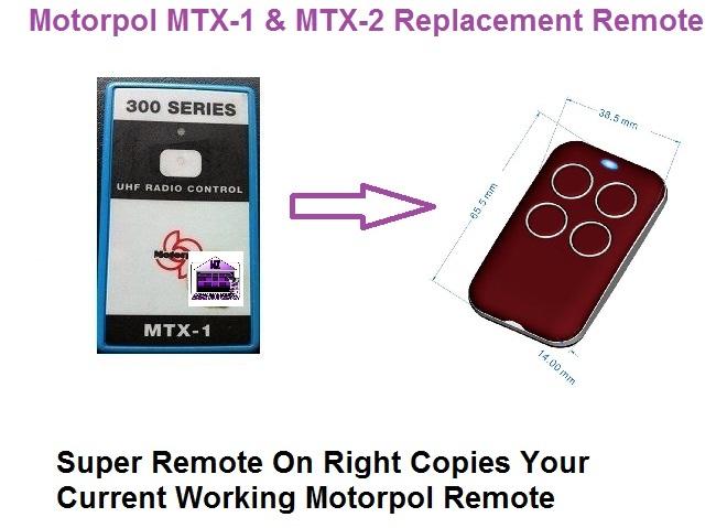 Motorpol Mtx 1 Garage Door Remote Control